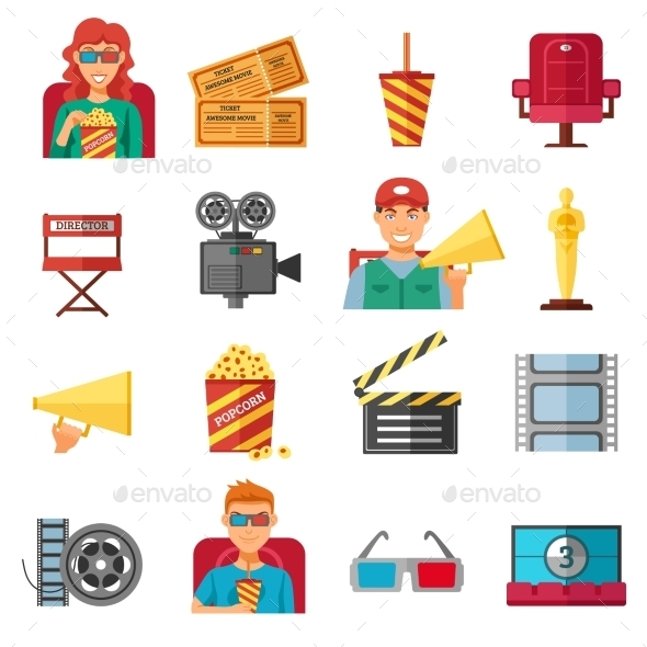 Flat Color Cinema Decorative Icons Collection  - Decorative Symbols Decorative