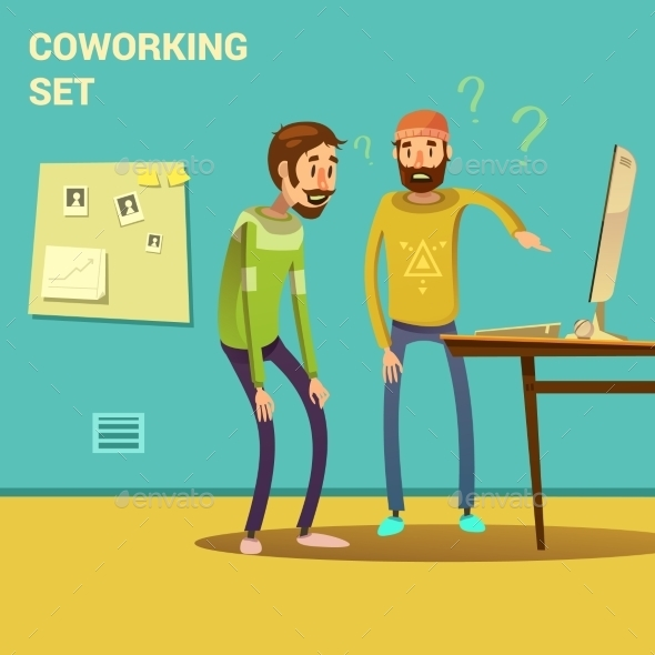Coworking Set Illustration  - Concepts Business