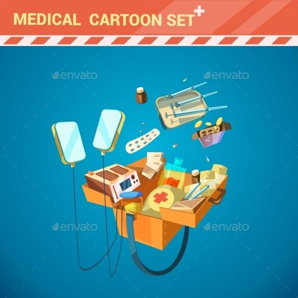 Hospital Equipment Cartoon Set - Health/Medicine Conceptual