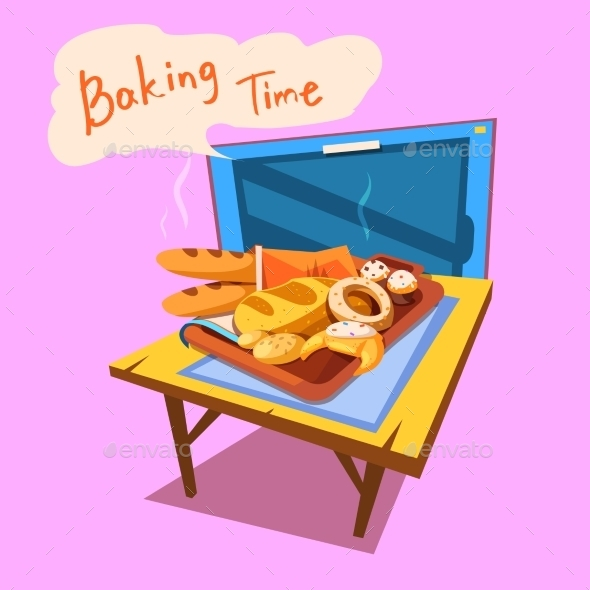 Bakery Cartoon Illustration - Food Objects