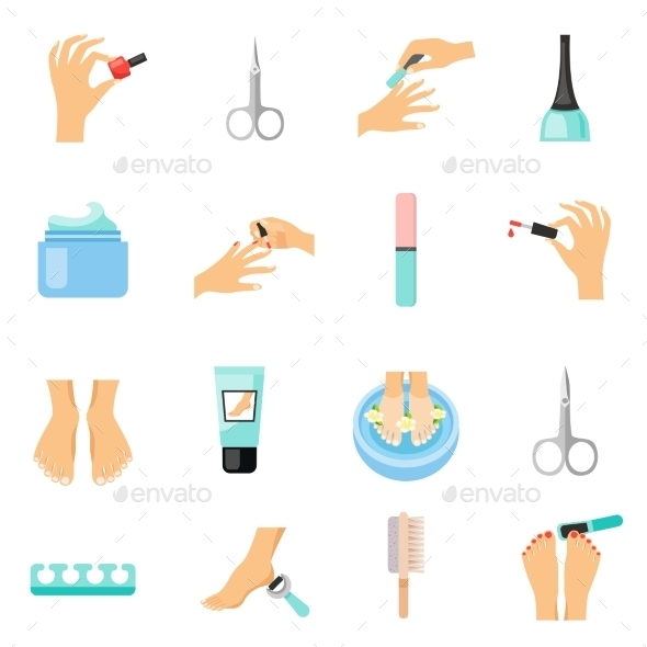 Manicure And Pedicure Flat Icons Set  - Miscellaneous Icons