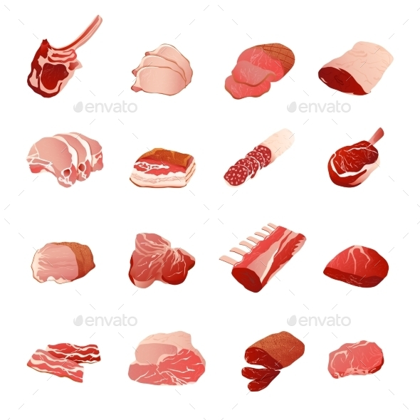 Meat Products Icons Set  - Food Objects