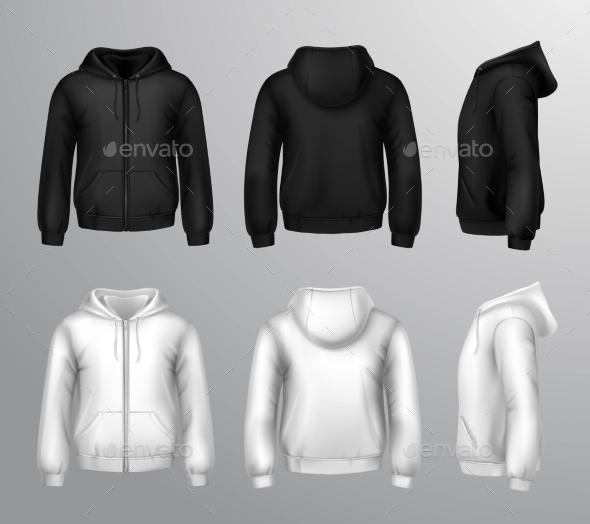 Black and White Male Hooded Sweatshirts  - Decorative Symbols Decorative