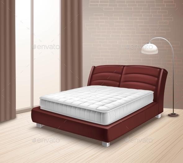 Mattress Bed in Home Interior - Decorative Symbols Decorative