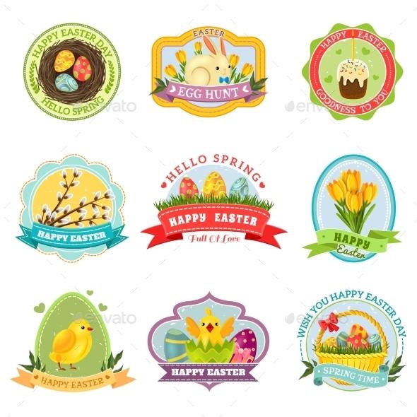 Easter Emblem Set - Religion Conceptual