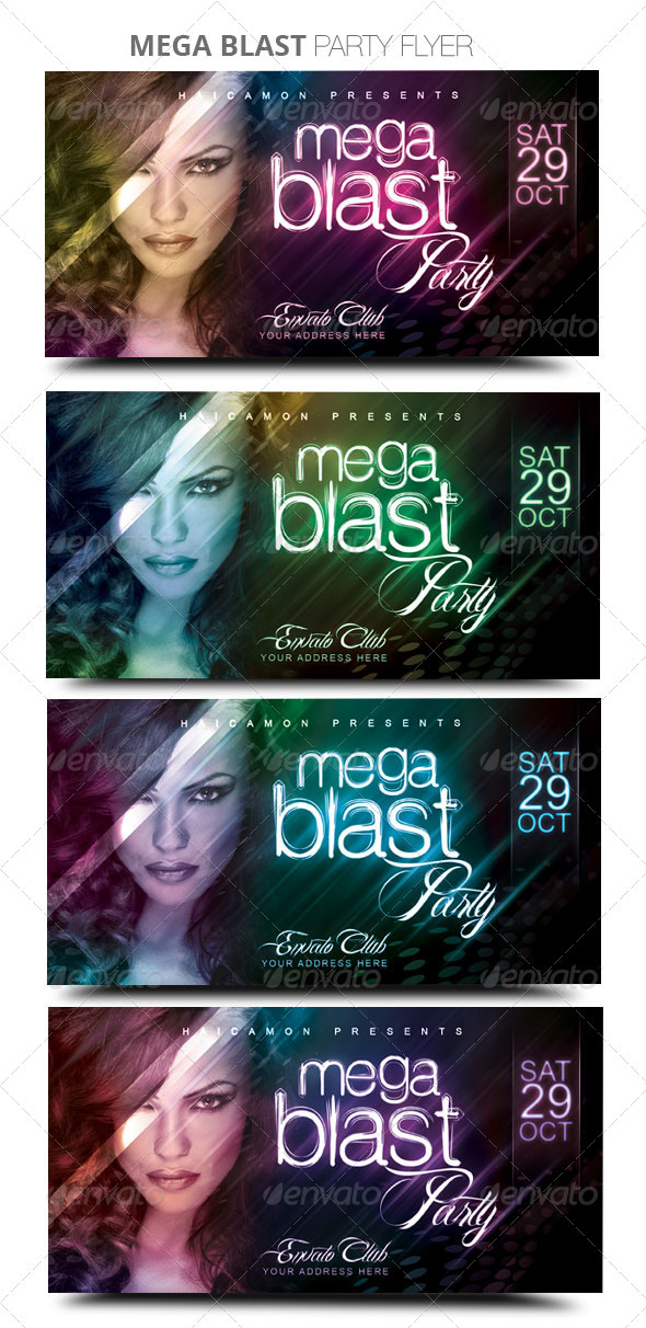 Mega Blast Party Flyer - Clubs & Parties Events