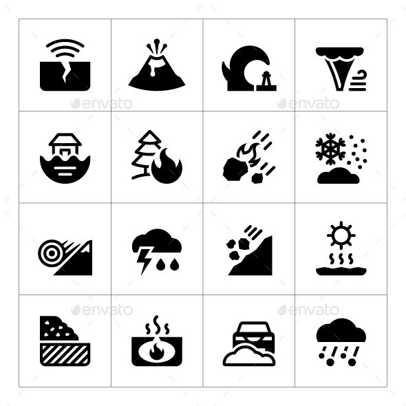 Set Icons of Natural Disaster - Abstract Icons
