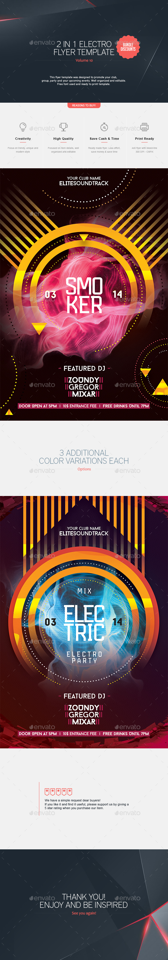 2 in 1 - Electro Flyer V.10 - Clubs & Parties Events