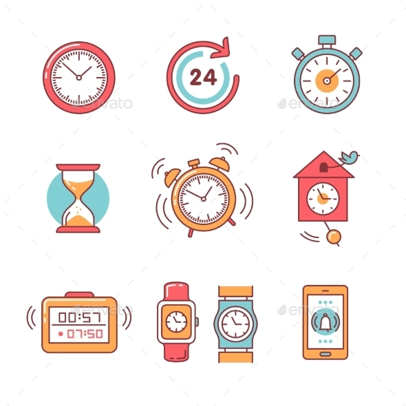 Types of Alarms Clocks, Timers and Watches Set - Miscellaneous Conceptual