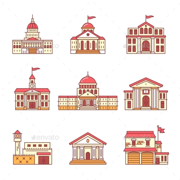 Government and Education Buildings Set - Buildings Objects