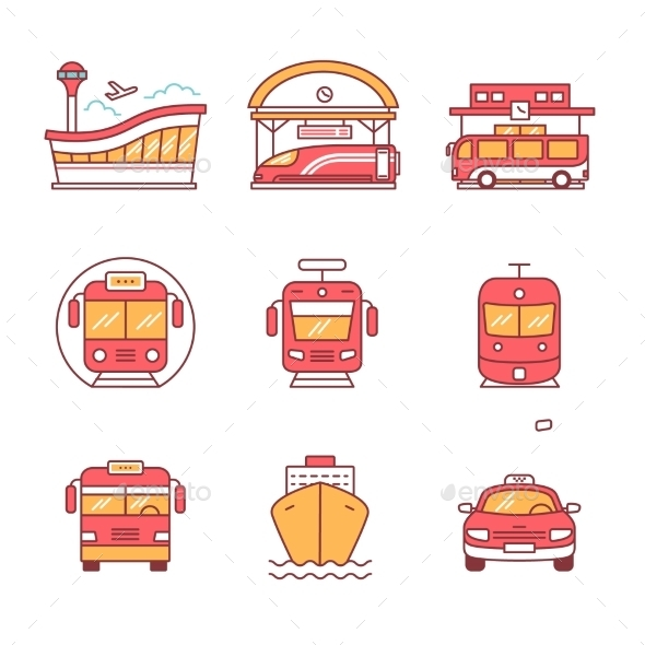 Modern Transportation and Urban Infrastructure Set - Travel Conceptual