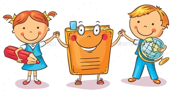 Children Holding Hands with a Book - People Characters