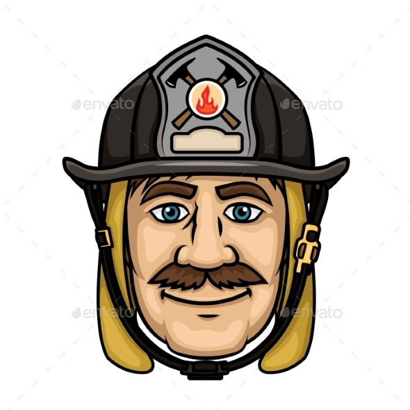 Firefighter or Fireman in Protective Helmet - People Characters