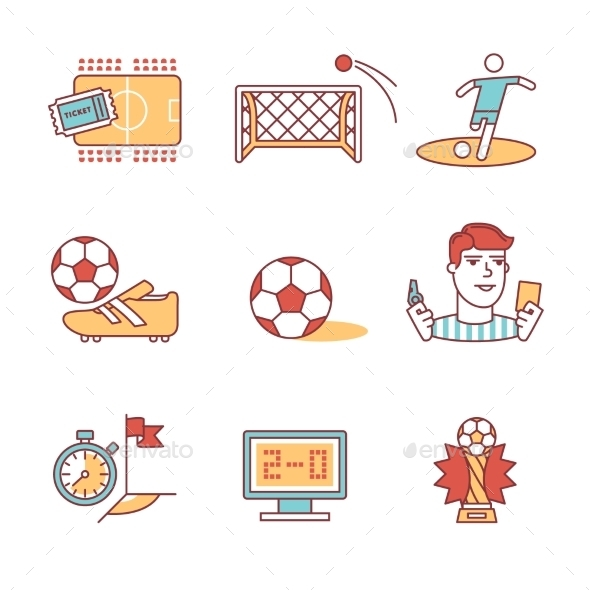 Soccer Game Signs Set Thin Line Art Icons - Sports/Activity Conceptual