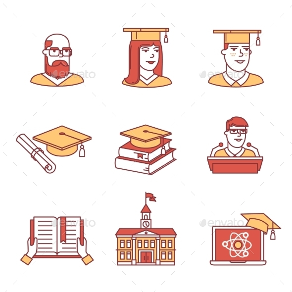 University and Academic Education Signs Set - People Characters