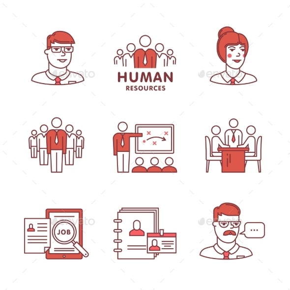 Human Resources, Teamwork and Building Signs Set - Concepts Business