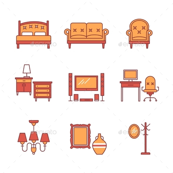 Home Furniture Signs Set Thin Line Art Icons - Man-made Objects Objects