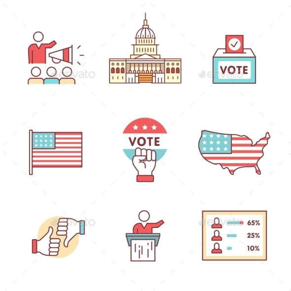 Elections, Campaign and Voting Signs Set - Miscellaneous Conceptual