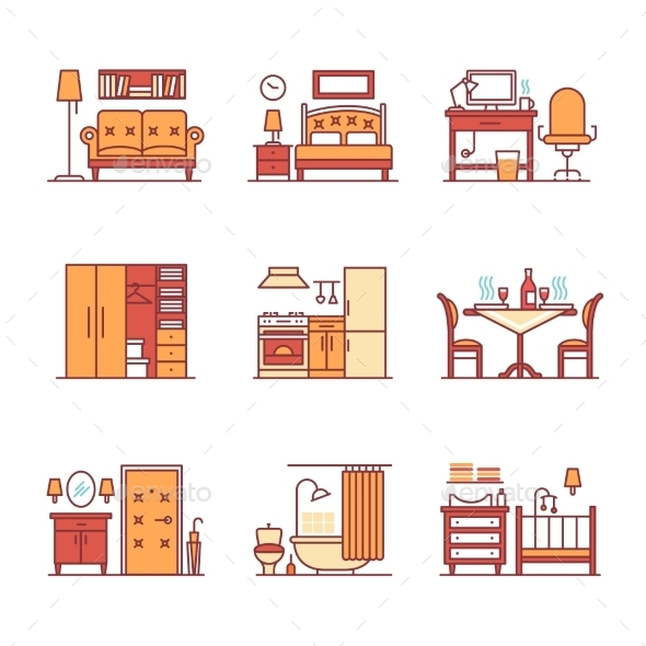 Home Room Types Furniture Signs Set - Man-made Objects Objects