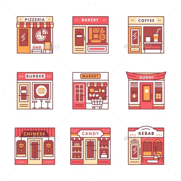 City Cafe, Food and Grocery Shops - Buildings Objects