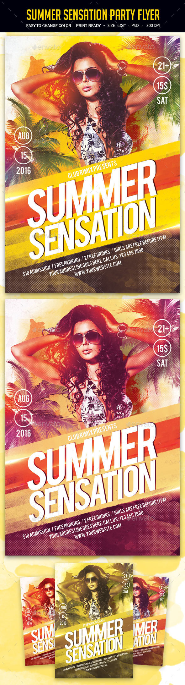 Summer Sensation Party Flyer - Clubs & Parties Events