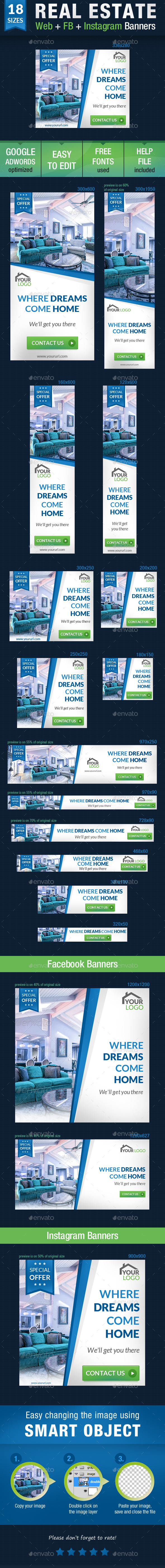 Real Estate Web + FB + Instagram Banners - Banners & Ads Web Elements