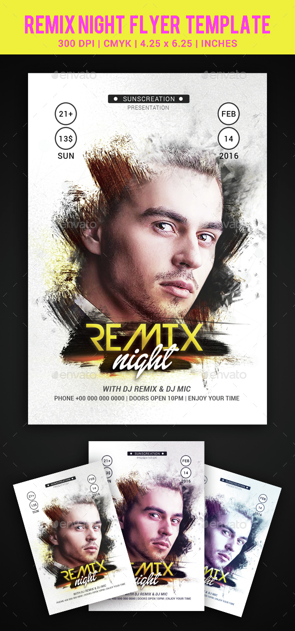 Remix Night Party Flyer Template - Clubs & Parties Events