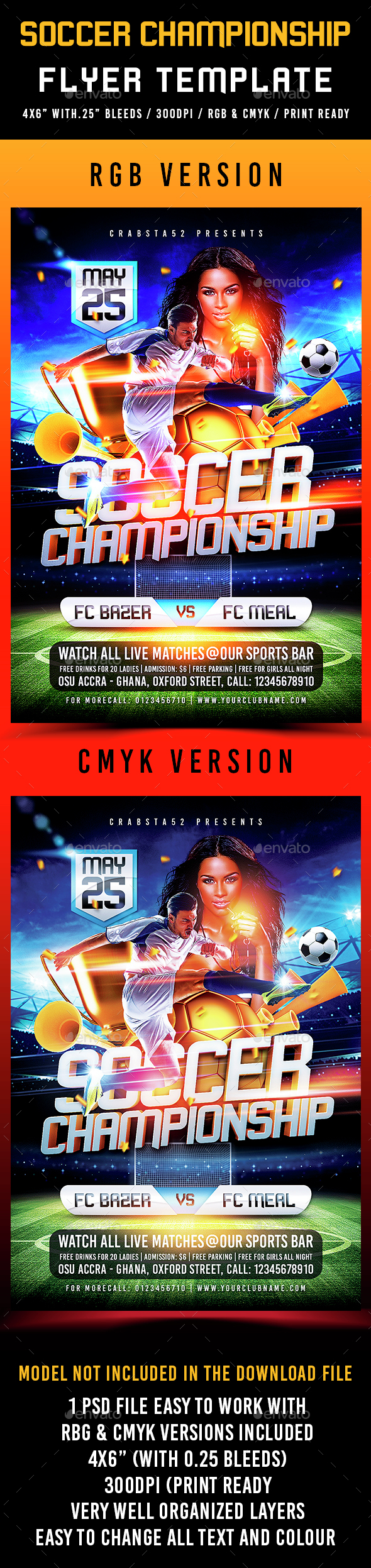 Soccer Championship Flyer Template - Sports Events