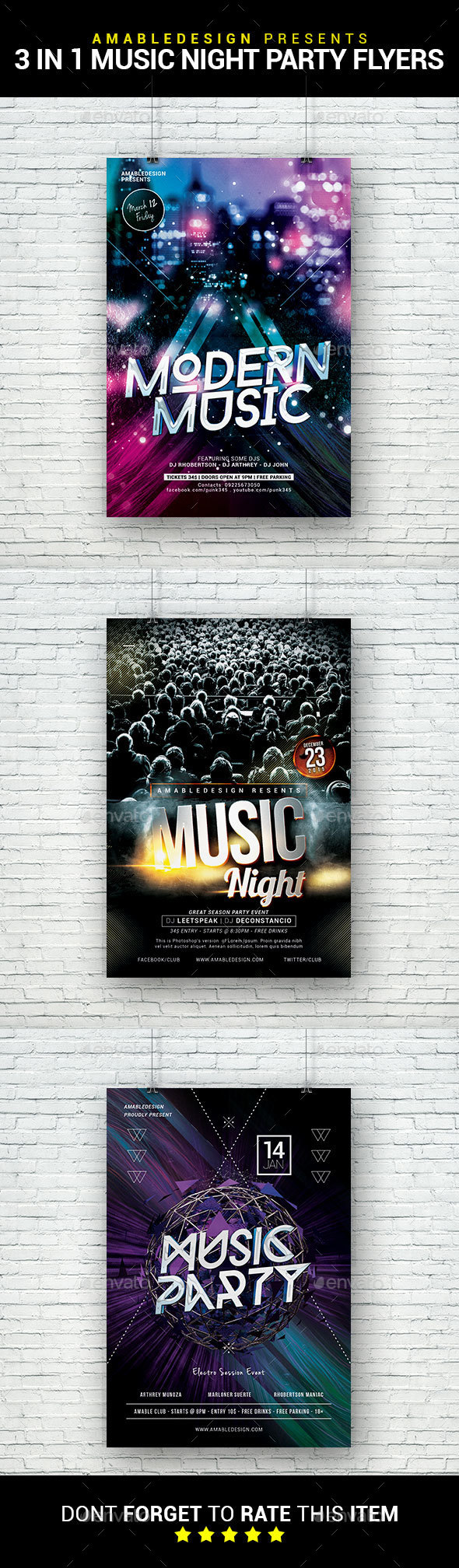 3 in 1 Music Night Party Flyer/Poster Bundle - Clubs & Parties Events