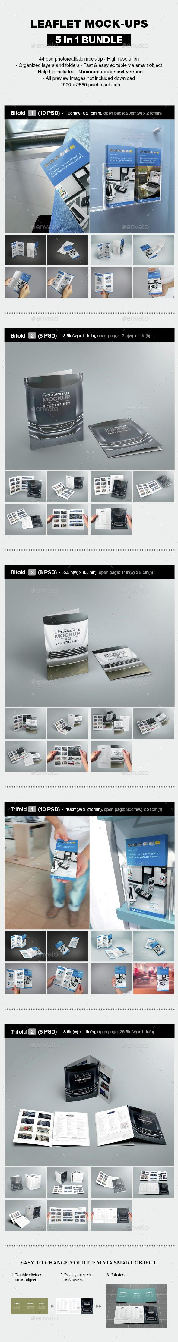Leaflet Mock-up Bundle - Print Product Mock-Ups