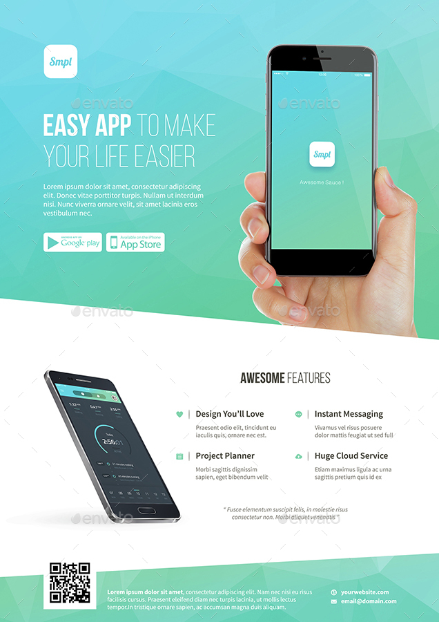 Mobile App Promotion Flyer Template By Bornx Graphicriver