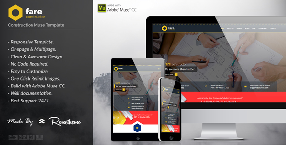 Fare - Construction Muse Template - Corporate Muse Templates