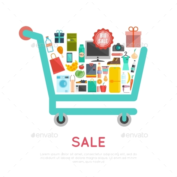 Shopping Cart Illustration - Commercial / Shopping Conceptual