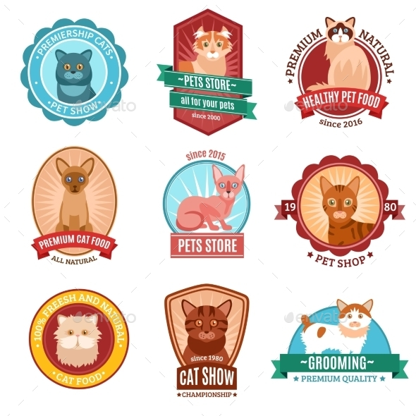 Cats Emblem Set - Animals Characters
