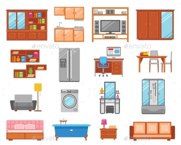 Furniture Isolated Icon Set - Decorative Symbols Decorative