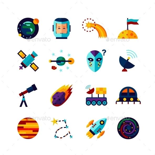 Space Symbols Flat Icons Set - Miscellaneous Icons