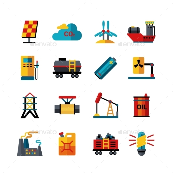 Energy Industry Production Flat Icons Set - Buildings Objects
