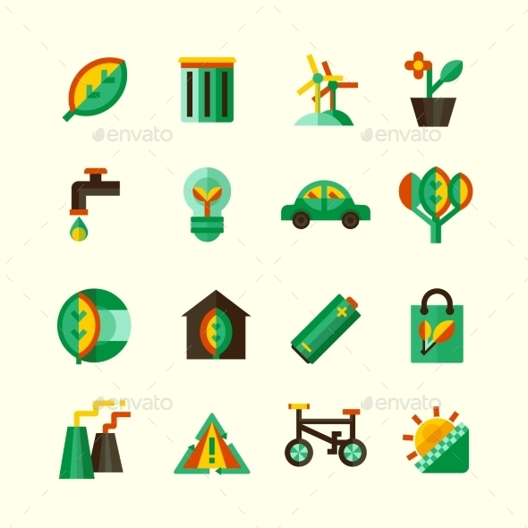 Ecology Icons Set - Objects Icons