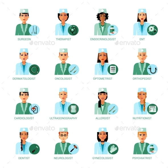 Medical Professions Avatars Set - People Characters