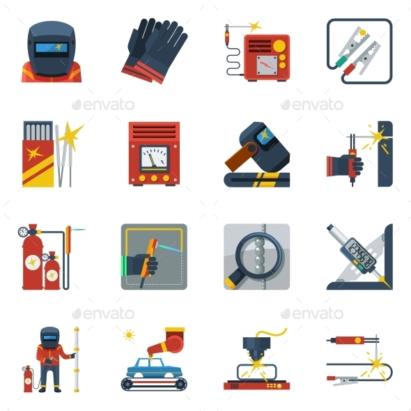 Welding Flat Color Icons  - Man-made objects Objects