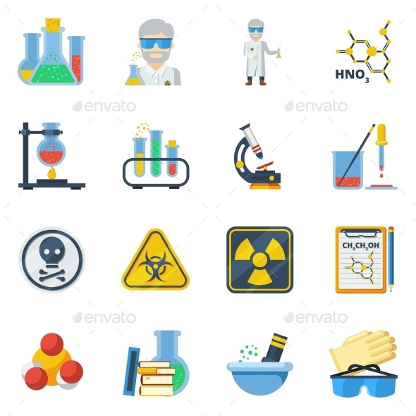 Chemistry Flat Color Icons Set  - Abstract Icons