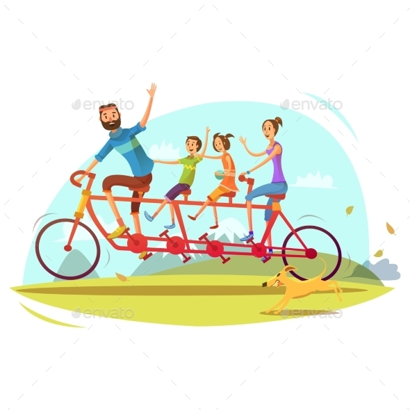 Family and Bicycle Cartoon Illustration  - Sports/Activity Conceptual