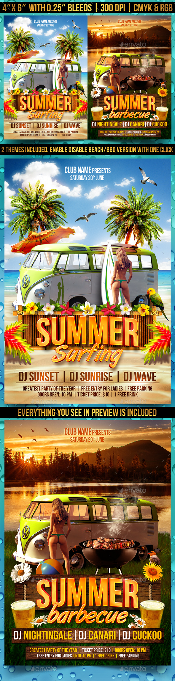 Summer Time Flyer Template - Clubs & Parties Events