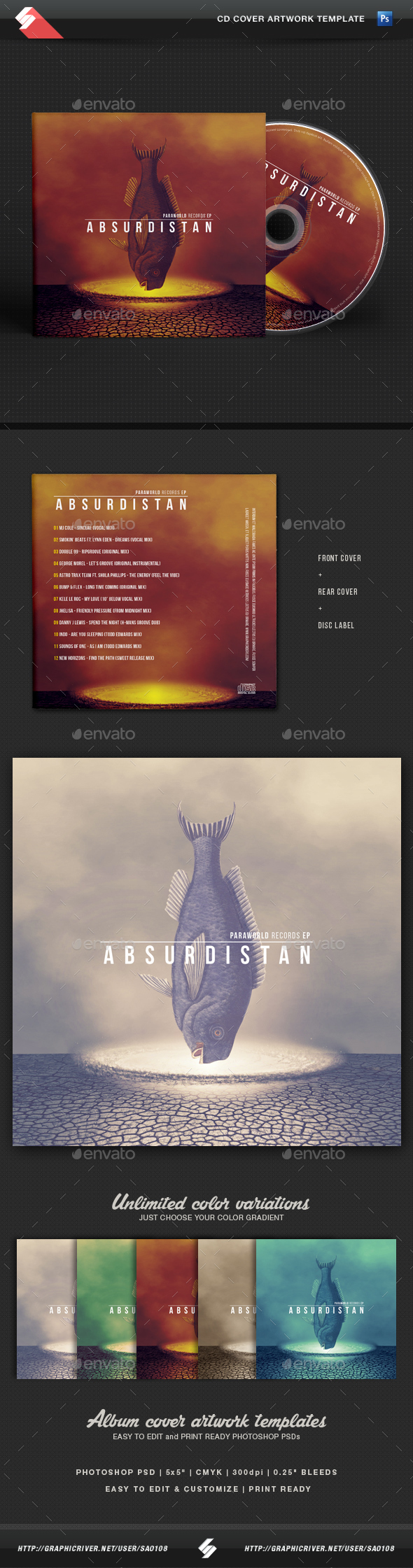 Absurdistan - CD Cover Artwork Template - CD & DVD Artwork Print Templates