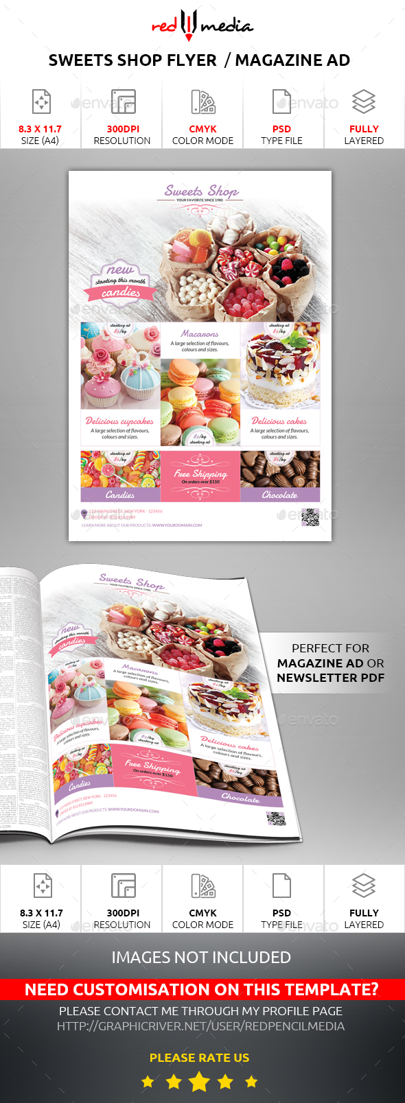 Sweets Shop Flyer / Magazine AD - Restaurant Flyers