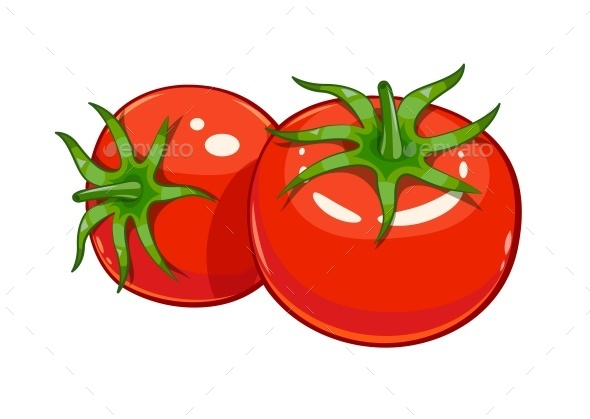 Pair of Red Ripe Tomatoes - Food Objects