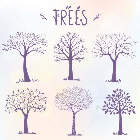 Set of Tree Silhouettes - Seasons Nature