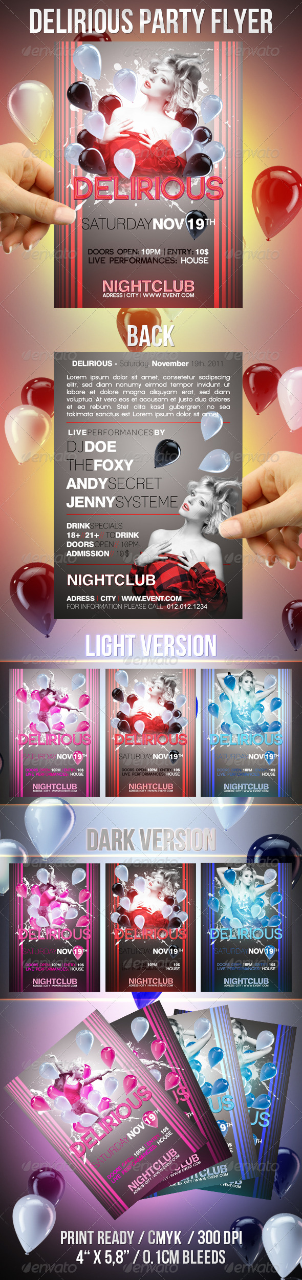 Delirious Party Flyer - Clubs & Parties Events
