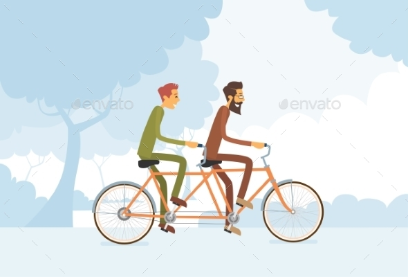 Two Casual Men Riding a Tandem Bicycle - People Characters