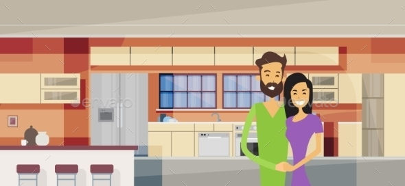 Couple Embracing in Modern Kitchen Interior - People Characters